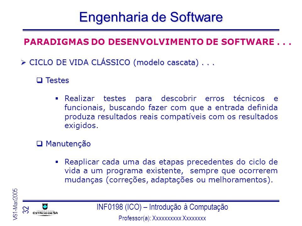 INF0198 (ICO) – Introdução à Computação Professor(a): Xxxxxxxxxx Xxxxxxxx VS1-Mar/2005 32 Engenharia de Software PARADIGMAS DO DESENVOLVIMENTO DE SOFT