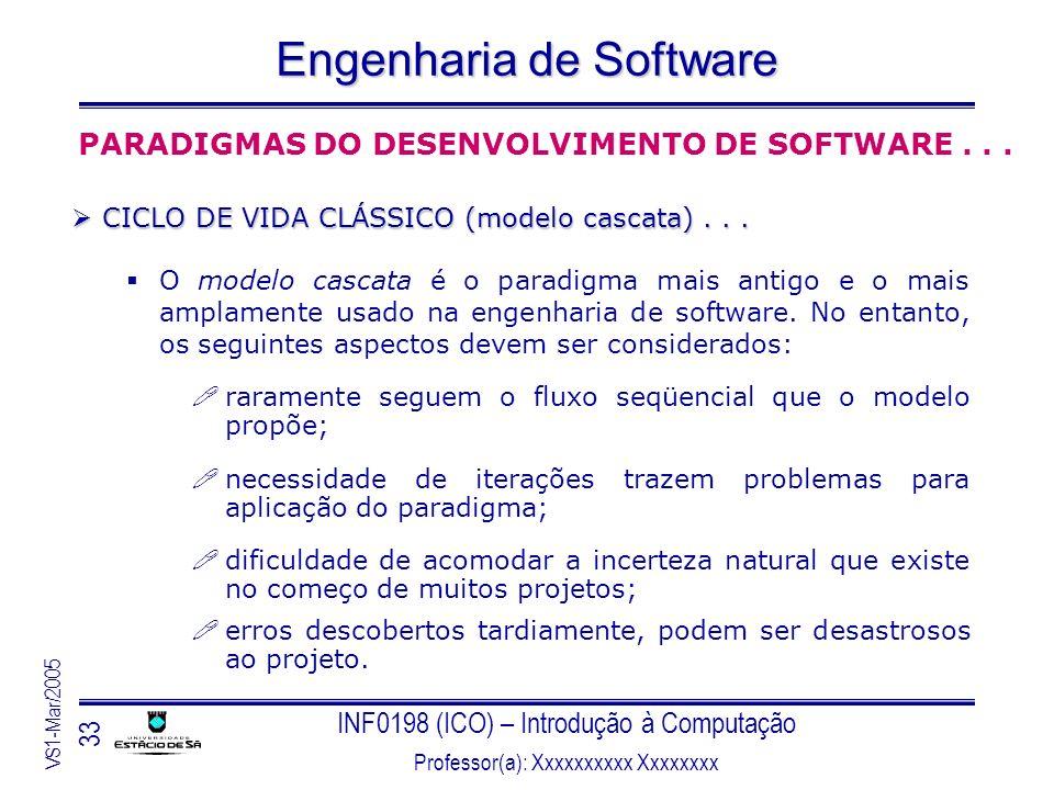 INF0198 (ICO) – Introdução à Computação Professor(a): Xxxxxxxxxx Xxxxxxxx VS1-Mar/2005 33 Engenharia de Software PARADIGMAS DO DESENVOLVIMENTO DE SOFT