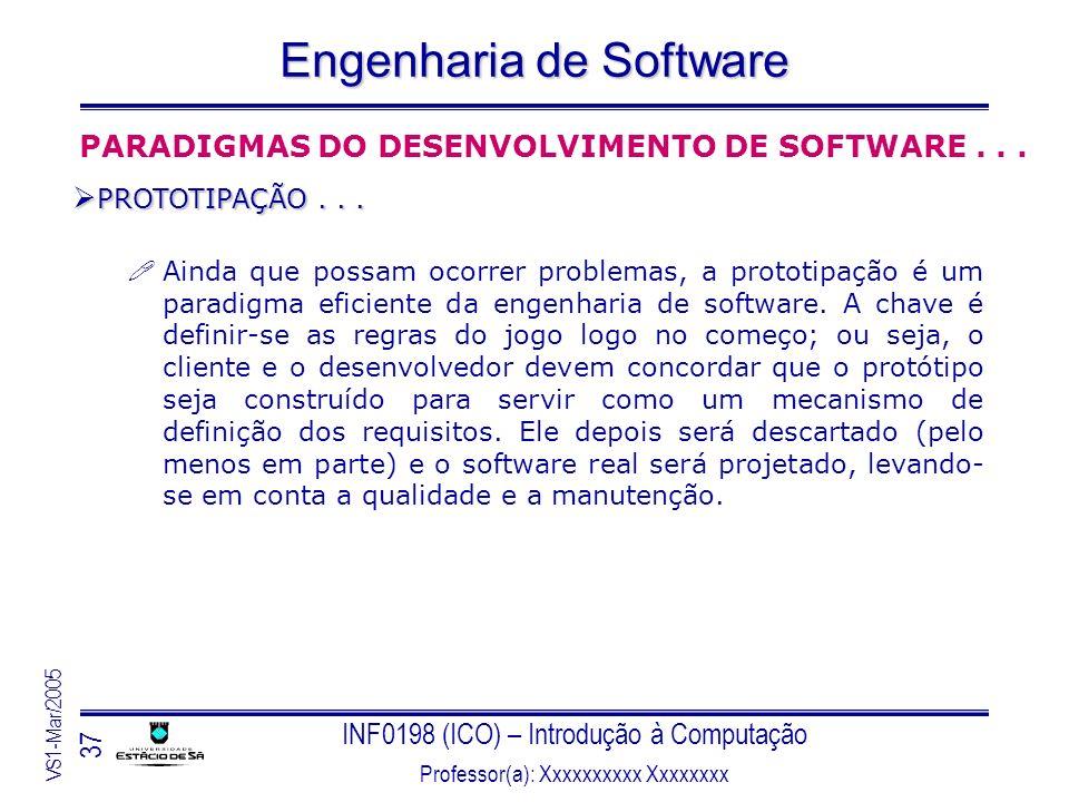 INF0198 (ICO) – Introdução à Computação Professor(a): Xxxxxxxxxx Xxxxxxxx VS1-Mar/2005 37 Engenharia de Software Ainda que possam ocorrer problemas, a