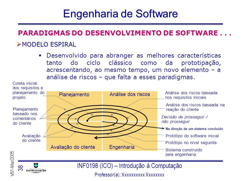 INF0198 (ICO) – Introdução à Computação Professor(a): Xxxxxxxxxx Xxxxxxxx VS1-Mar/2005 38 Engenharia de Software Desenvolvido para abranger as melhore