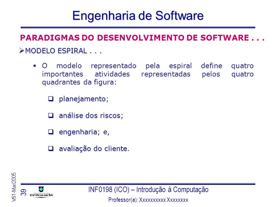 INF0198 (ICO) – Introdução à Computação Professor(a): Xxxxxxxxxx Xxxxxxxx VS1-Mar/2005 39 Engenharia de Software O modelo representado pela espiral de