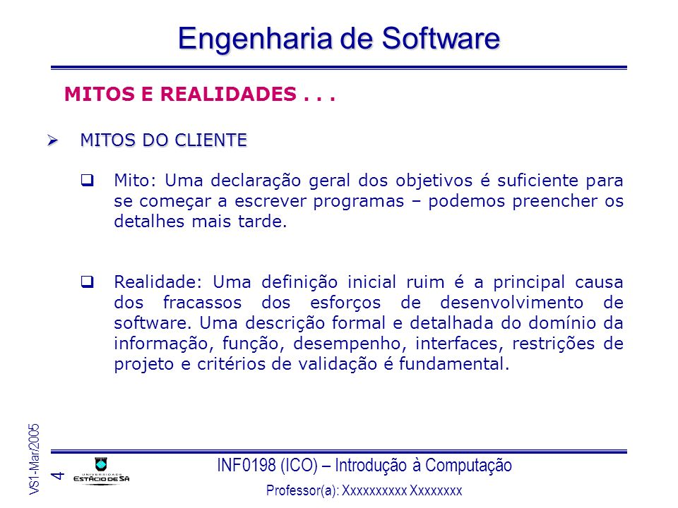 INF0198 (ICO) – Introdução à Computação Professor(a): Xxxxxxxxxx Xxxxxxxx VS1-Mar/2005 4 Engenharia de Software MITOS E REALIDADES... MITOS DO CLIENTE