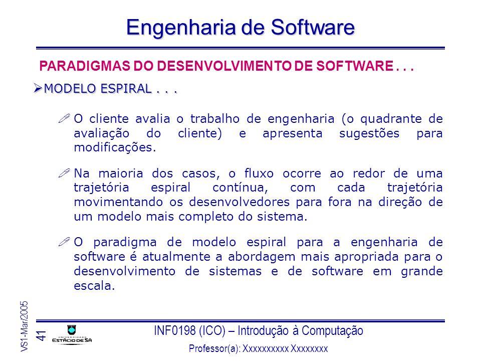 INF0198 (ICO) – Introdução à Computação Professor(a): Xxxxxxxxxx Xxxxxxxx VS1-Mar/2005 41 Engenharia de Software O cliente avalia o trabalho de engenh