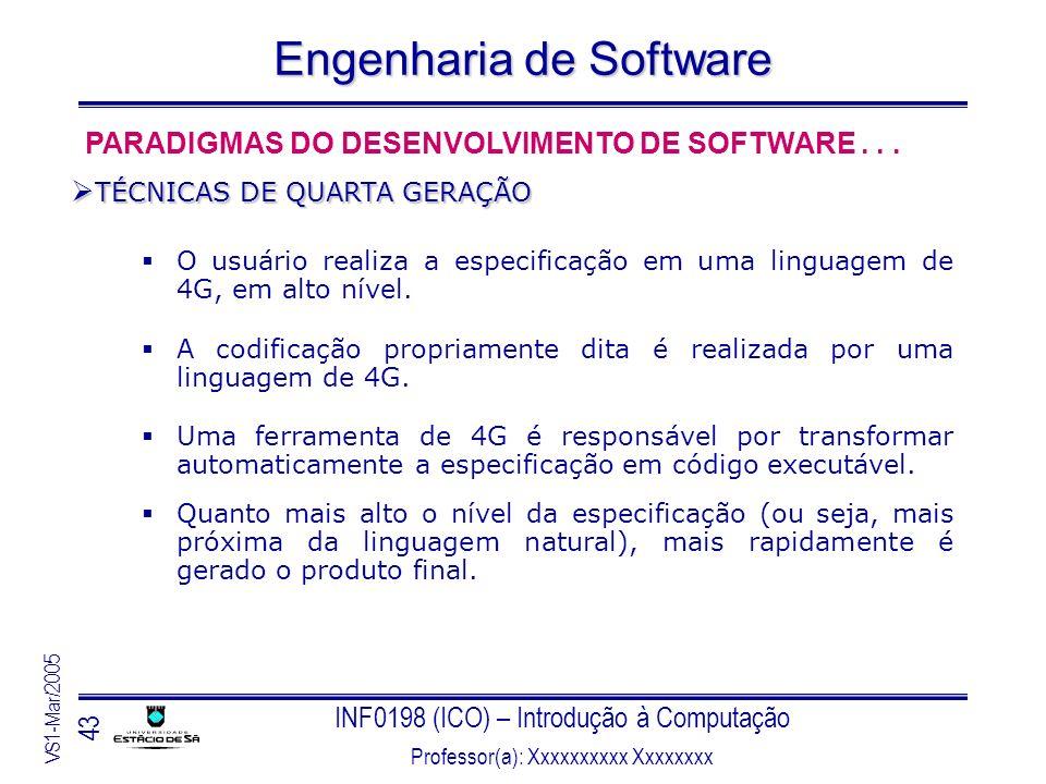 INF0198 (ICO) – Introdução à Computação Professor(a): Xxxxxxxxxx Xxxxxxxx VS1-Mar/2005 43 Engenharia de Software O usuário realiza a especificação em