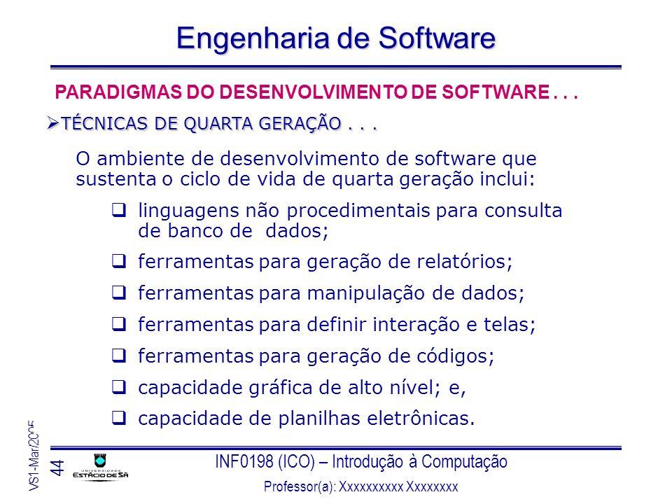 INF0198 (ICO) – Introdução à Computação Professor(a): Xxxxxxxxxx Xxxxxxxx VS1-Mar/2005 44 Engenharia de Software O ambiente de desenvolvimento de soft