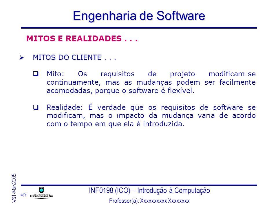 INF0198 (ICO) – Introdução à Computação Professor(a): Xxxxxxxxxx Xxxxxxxx VS1-Mar/2005 46 Engenharia de Software Coleta de requisitos Coleta de requisitos O cliente descreve os requisitos os quais são traduzidos para um protótipo operacional.