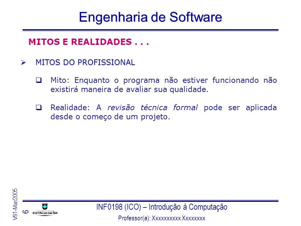 INF0198 (ICO) – Introdução à Computação Professor(a): Xxxxxxxxxx Xxxxxxxx VS1-Mar/2005 6 Engenharia de Software MITOS E REALIDADES... MITOS DO PROFISS
