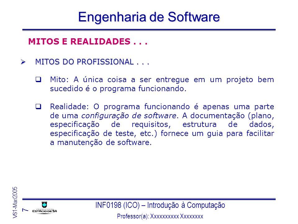 INF0198 (ICO) – Introdução à Computação Professor(a): Xxxxxxxxxx Xxxxxxxx VS1-Mar/2005 8 Engenharia de Software PARADIGMAS DA ENGENHARIA DE SOFTWARE Não existe uma abordagem em particular que seja a melhor solução para o desenvolvimento de software, no entanto: a combinação de métodos abrangentes para todas as fases de desenvolvimento; a utilização de ferramentas para automatizar esses métodos; a criação de blocos de construção mais consistentes; a aplicação das melhores técnicas de qualidade; e, a filosofia de coordenação, controle e administração; darão o encaminhamento das bases da engenharia de software.