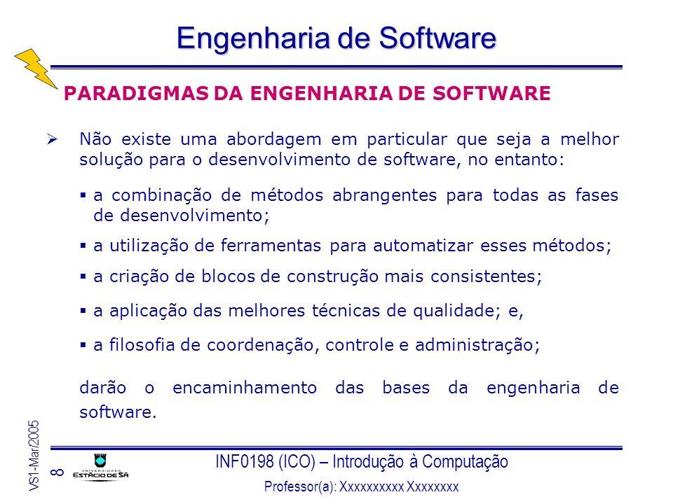 INF0198 (ICO) – Introdução à Computação Professor(a): Xxxxxxxxxx Xxxxxxxx VS1-Mar/2005 8 Engenharia de Software PARADIGMAS DA ENGENHARIA DE SOFTWARE N