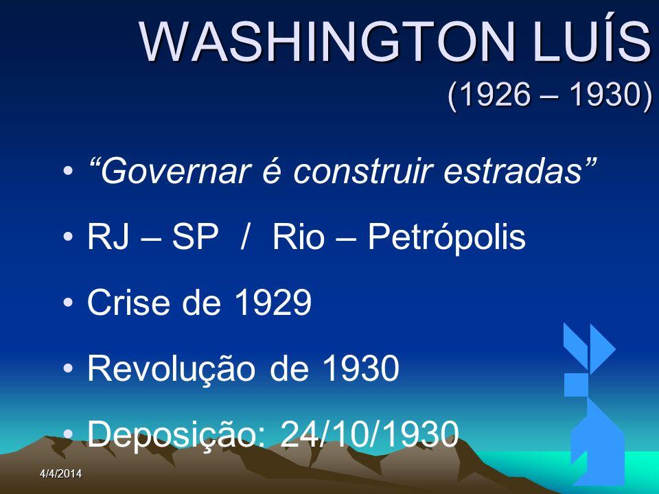 4/4/2014101 WASHINGTON LUÍS (1926 – 1930) Governar é construir estradas RJ – SP / Rio – Petrópolis Crise de 1929 Revolução de 1930 Deposição: 24/10/19