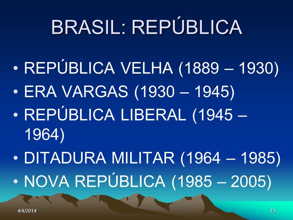 4/4/201413 BRASIL: REPÚBLICA REPÚBLICA VELHA (1889 – 1930) ERA VARGAS (1930 – 1945) REPÚBLICA LIBERAL (1945 – 1964) DITADURA MILITAR (1964 – 1985) NOV