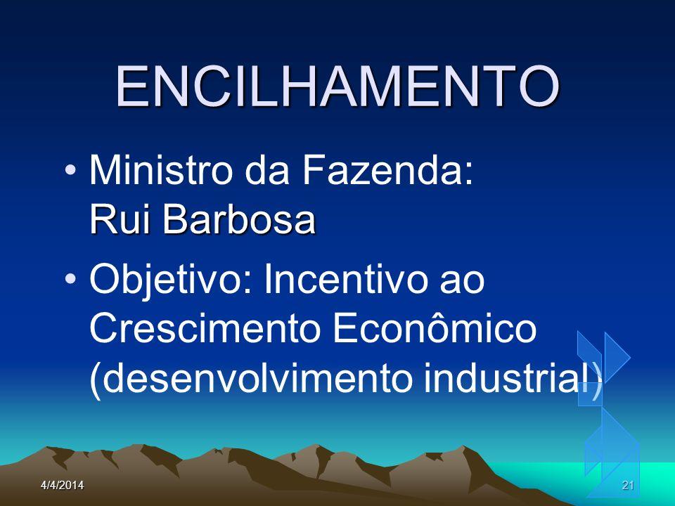 4/4/201421 ENCILHAMENTO Rui BarbosaMinistro da Fazenda: Rui Barbosa Objetivo: Incentivo ao Crescimento Econômico (desenvolvimento industrial)