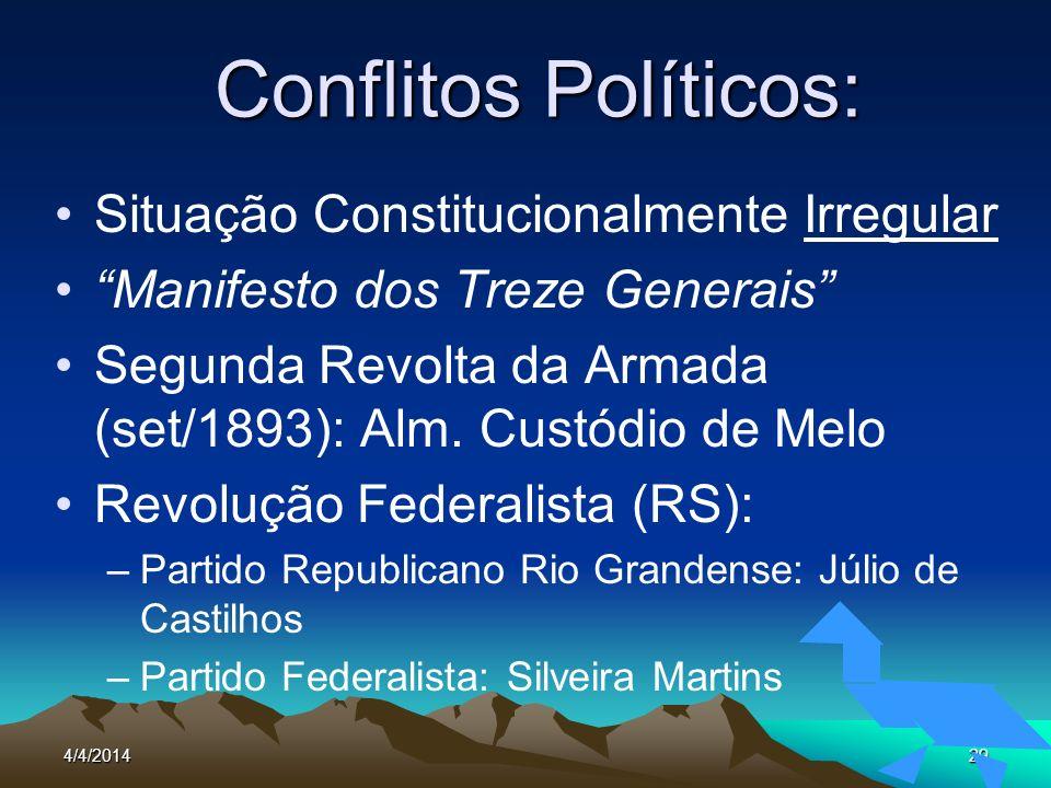 4/4/201429 Conflitos Políticos: Situação Constitucionalmente Irregular Manifesto dos Treze Generais Segunda Revolta da Armada (set/1893): Alm. Custódi