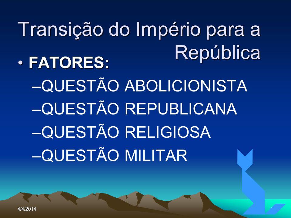 4/4/20143 Transição do Império para a República FATORES:FATORES: –QUESTÃO ABOLICIONISTA –QUESTÃO REPUBLICANA –QUESTÃO RELIGIOSA –QUESTÃO MILITAR