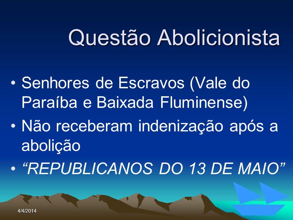 4/4/20144 Questão Abolicionista Senhores de Escravos (Vale do Paraíba e Baixada Fluminense) Não receberam indenização após a abolição REPUBLICANOS DO