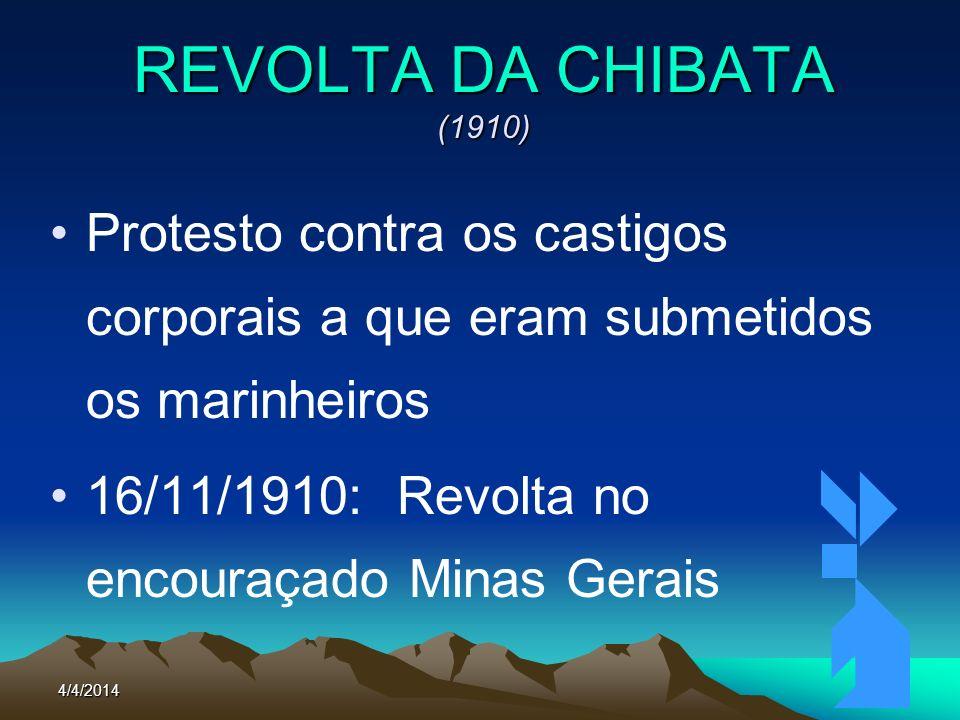 4/4/201467 REVOLTA DA CHIBATA (1910) Protesto contra os castigos corporais a que eram submetidos os marinheiros 16/11/1910: Revolta no encouraçado Min