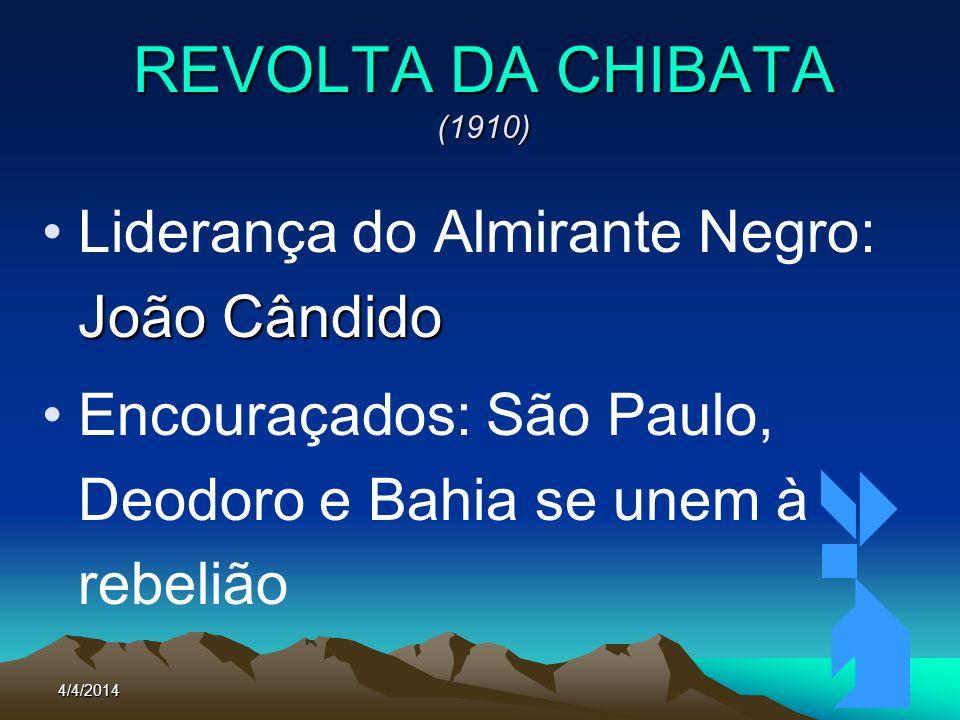 4/4/201469 REVOLTA DA CHIBATA (1910) Reivindicações: –Fim da Chibata; –Aumento do Soldo –Melhor alimentação à bordo