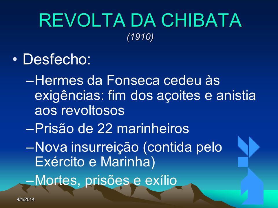 4/4/201470 REVOLTA DA CHIBATA (1910) Desfecho: –Hermes da Fonseca cedeu às exigências: fim dos açoites e anistia aos revoltosos –Prisão de 22 marinhei