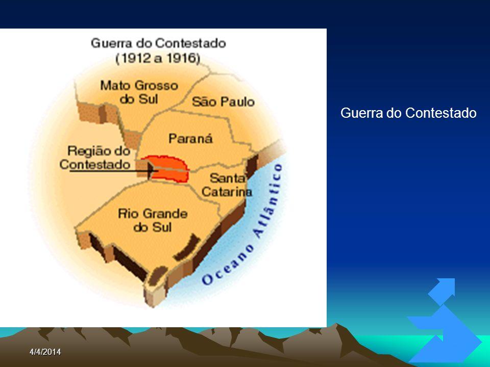 4/4/201476 GUERRA DO CONTESTADO (1912 - 1916) Brazil Railway: ferrovia SP – RS Southern Brazil Lumber & Colonization: madeireira