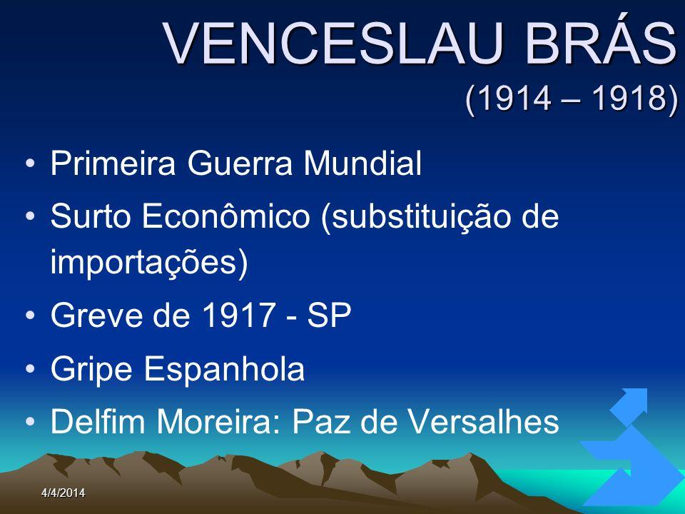 4/4/201488 VENCESLAU BRÁS (1914 – 1918) Primeira Guerra Mundial Surto Econômico (substituição de importações) Greve de 1917 - SP Gripe Espanhola Delfi