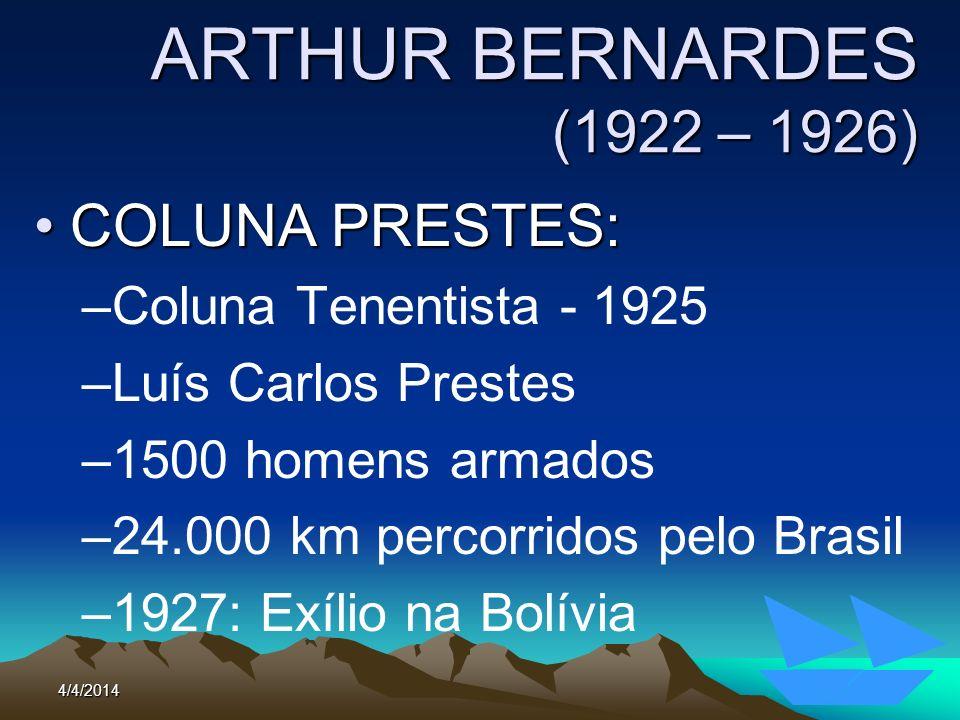 4/4/201494 ARTHUR BERNARDES (1922 – 1926) COLUNA PRESTES:COLUNA PRESTES: –Coluna Tenentista - 1925 –Luís Carlos Prestes –1500 homens armados –24.000 k