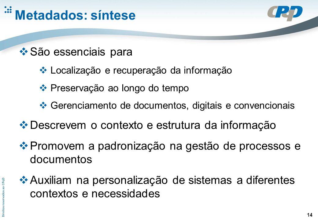 Direitos reservados ao CPqD 14 Metadados: síntese São essenciais para Localização e recuperação da informação Preservação ao longo do tempo Gerenciame