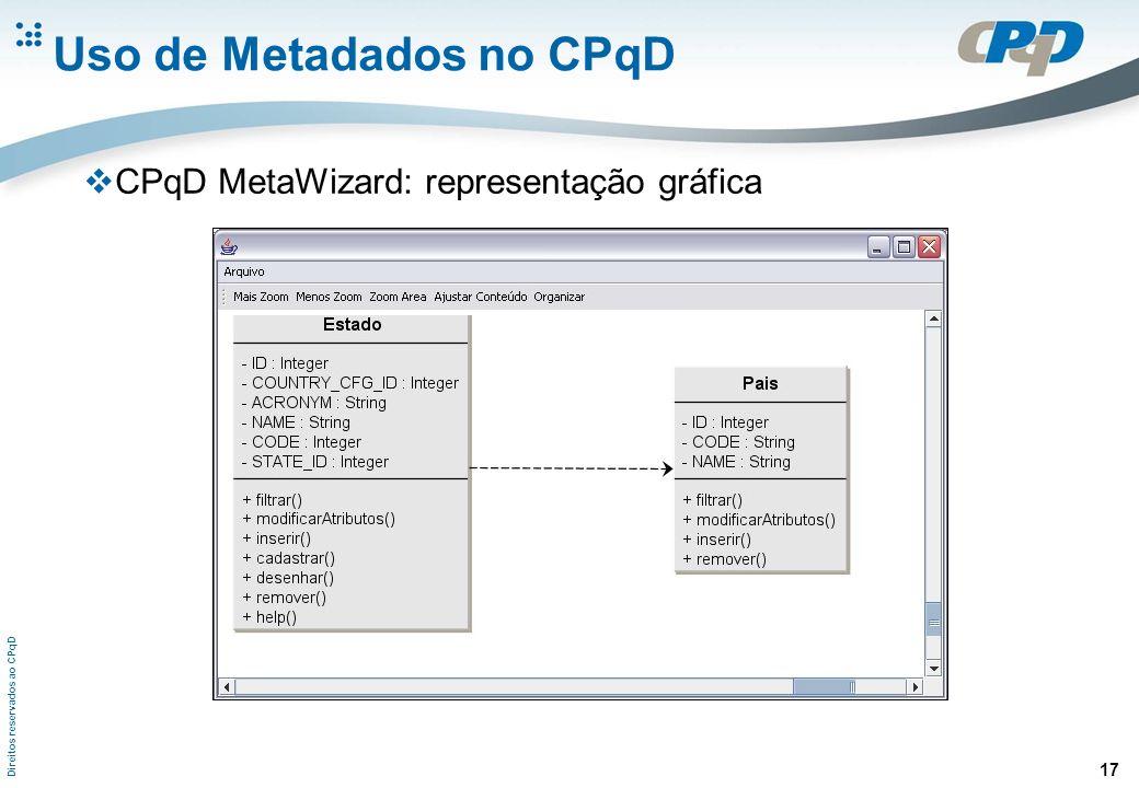 Direitos reservados ao CPqD 17 Uso de Metadados no CPqD CPqD MetaWizard: representação gráfica