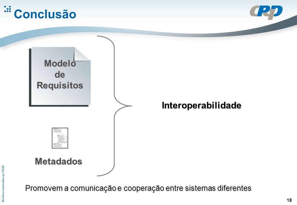 Direitos reservados ao CPqD 18 Conclusão ModelodeRequisitos Metadados Interoperabilidade Promovem a comunicação e cooperação entre sistemas diferentes