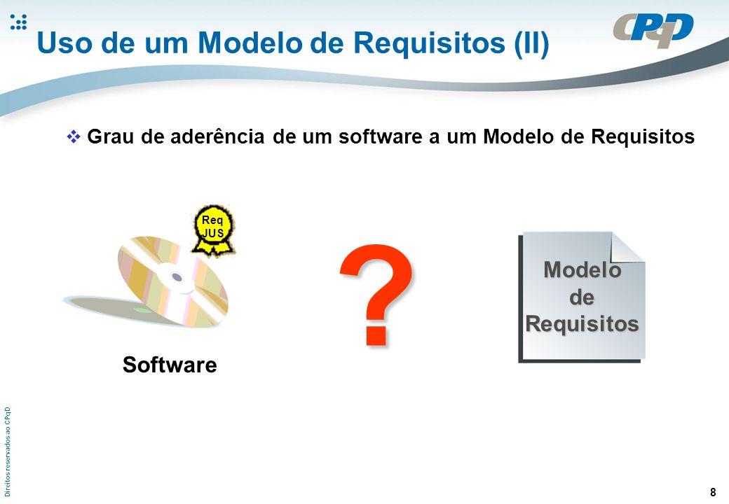 Direitos reservados ao CPqD 8 Uso de um Modelo de Requisitos (II) Software Req JUS ModelodeRequisitos ? Grau de aderência de um software a um Modelo d