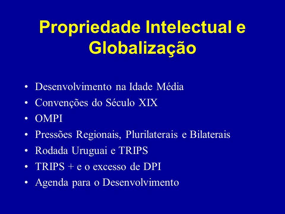 Propriedade Intelectual e Globalização Desenvolvimento na Idade Média Convenções do Século XIX OMPI Pressões Regionais, Plurilaterais e Bilaterais Rod