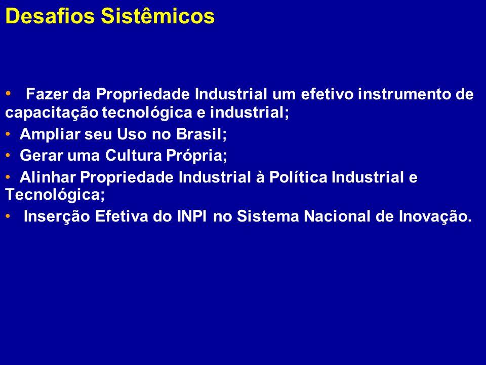Fazer da Propriedade Industrial um efetivo instrumento de capacitação tecnológica e industrial; Ampliar seu Uso no Brasil; Gerar uma Cultura Própria;