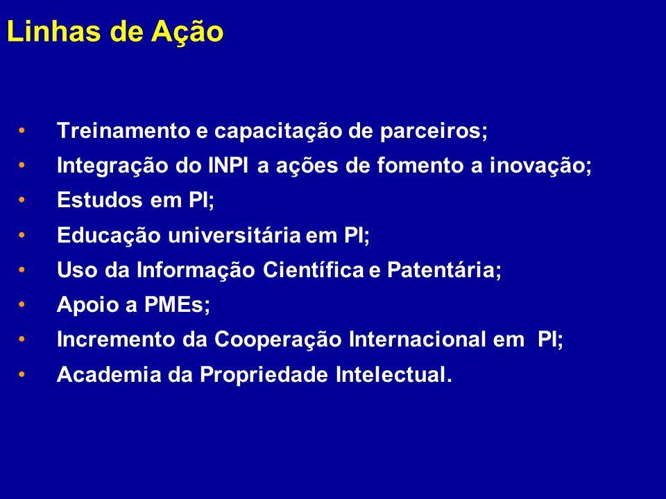 Treinamento e capacitação de parceiros; Integração do INPI a ações de fomento a inovação; Estudos em PI; Educação universitária em PI; Uso da Informaç