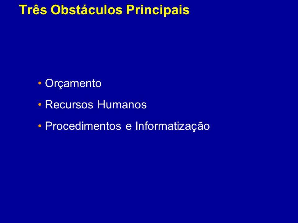 Três Obstáculos Principais Orçamento Recursos Humanos Procedimentos e Informatização