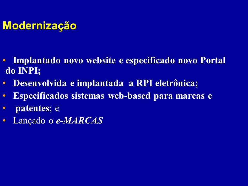 Modernização Implantado novo website e especificado novo Portal do INPI; Desenvolvida e implantada a RPI eletrônica; Especificados sistemas web-based