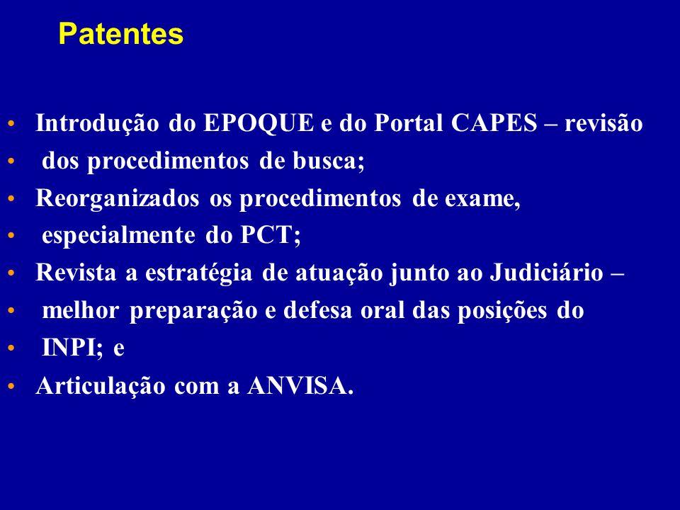 Patentes Introdução do EPOQUE e do Portal CAPES – revisão dos procedimentos de busca; Reorganizados os procedimentos de exame, especialmente do PCT; R