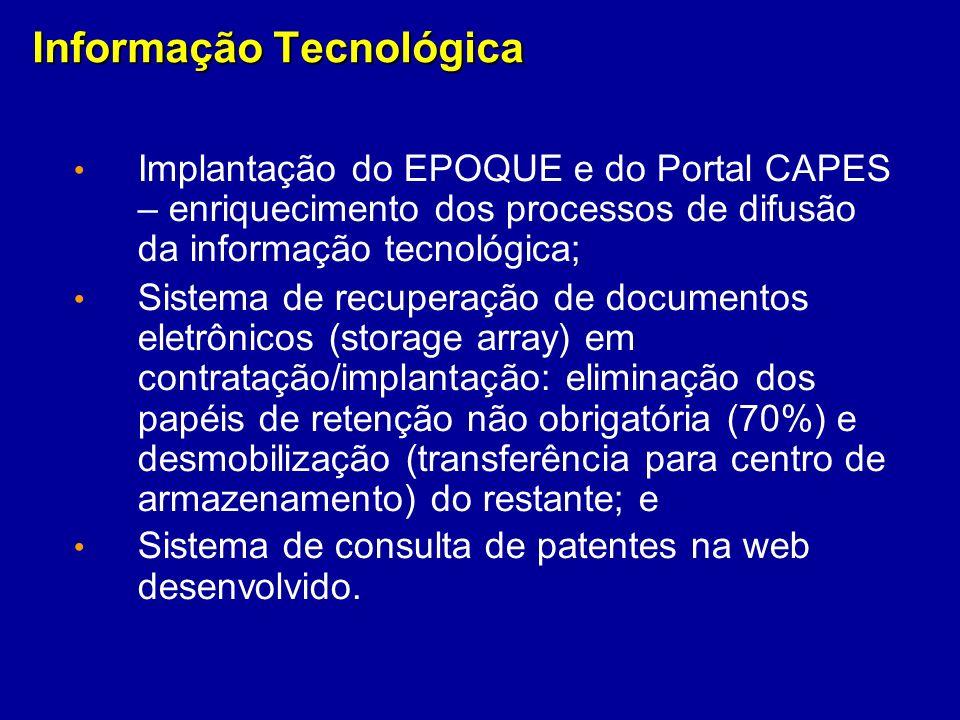 Informação Tecnológica Implantação do EPOQUE e do Portal CAPES – enriquecimento dos processos de difusão da informação tecnológica; Sistema de recuper