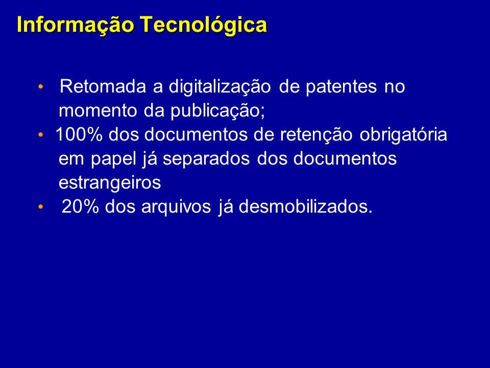 Informação Tecnológica Retomada a digitalização de patentes no momento da publicação; 100% dos documentos de retenção obrigatória em papel já separado