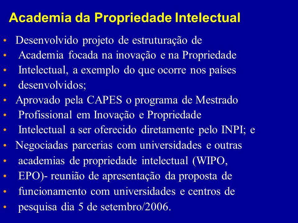 Academia da Propriedade Intelectual Desenvolvido projeto de estruturação de Academia focada na inovação e na Propriedade Intelectual, a exemplo do que