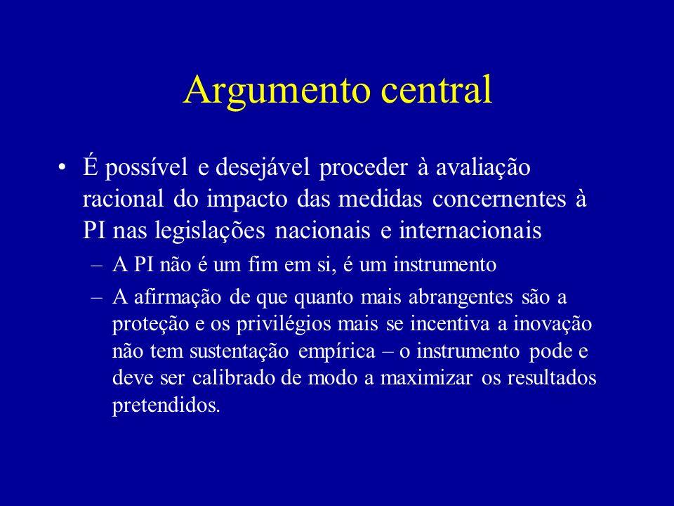 Argumento central É possível e desejável proceder à avaliação racional do impacto das medidas concernentes à PI nas legislações nacionais e internacio