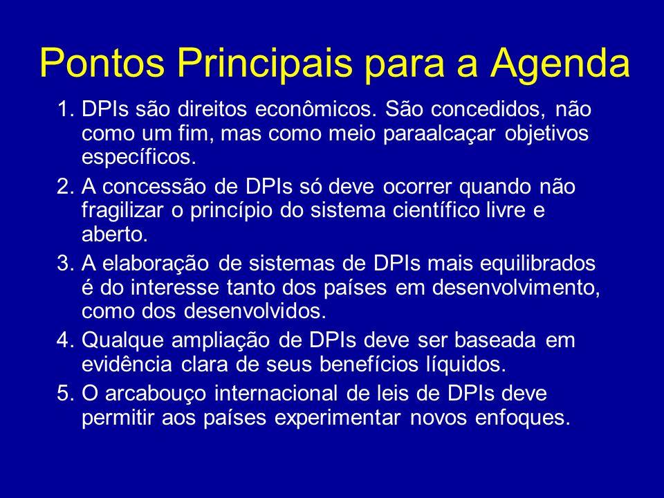 Pontos Principais para a Agenda 1.DPIs são direitos econômicos. São concedidos, não como um fim, mas como meio paraalcaçar objetivos específicos. 2.A