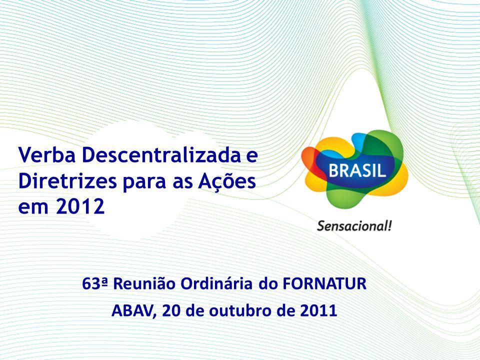 Verba Descentralizada e Diretrizes para as Ações em 2012 63ª Reunião Ordinária do FORNATUR ABAV, 20 de outubro de 2011