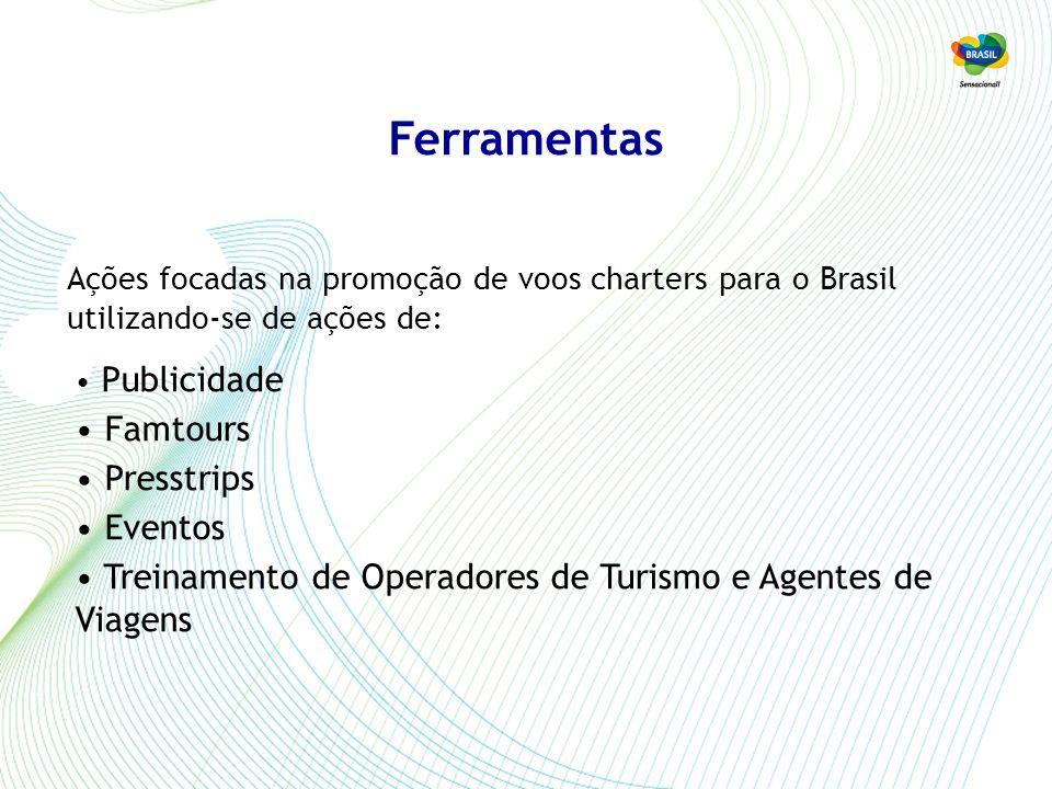 Ferramentas Publicidade Famtours Presstrips Eventos Treinamento de Operadores de Turismo e Agentes de Viagens Ações focadas na promoção de voos charters para o Brasil utilizando-se de ações de:
