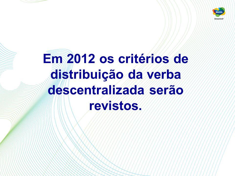 Em 2012 os critérios de distribuição da verba descentralizada serão revistos.