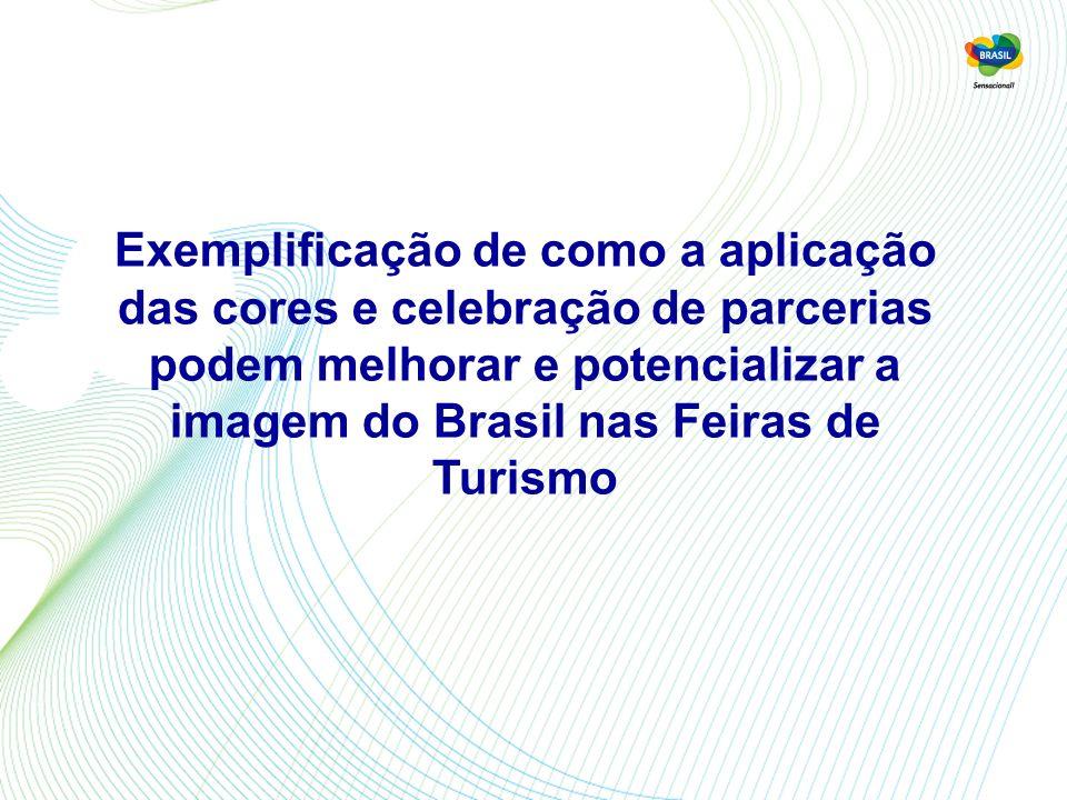 Exemplificação de como a aplicação das cores e celebração de parcerias podem melhorar e potencializar a imagem do Brasil nas Feiras de Turismo