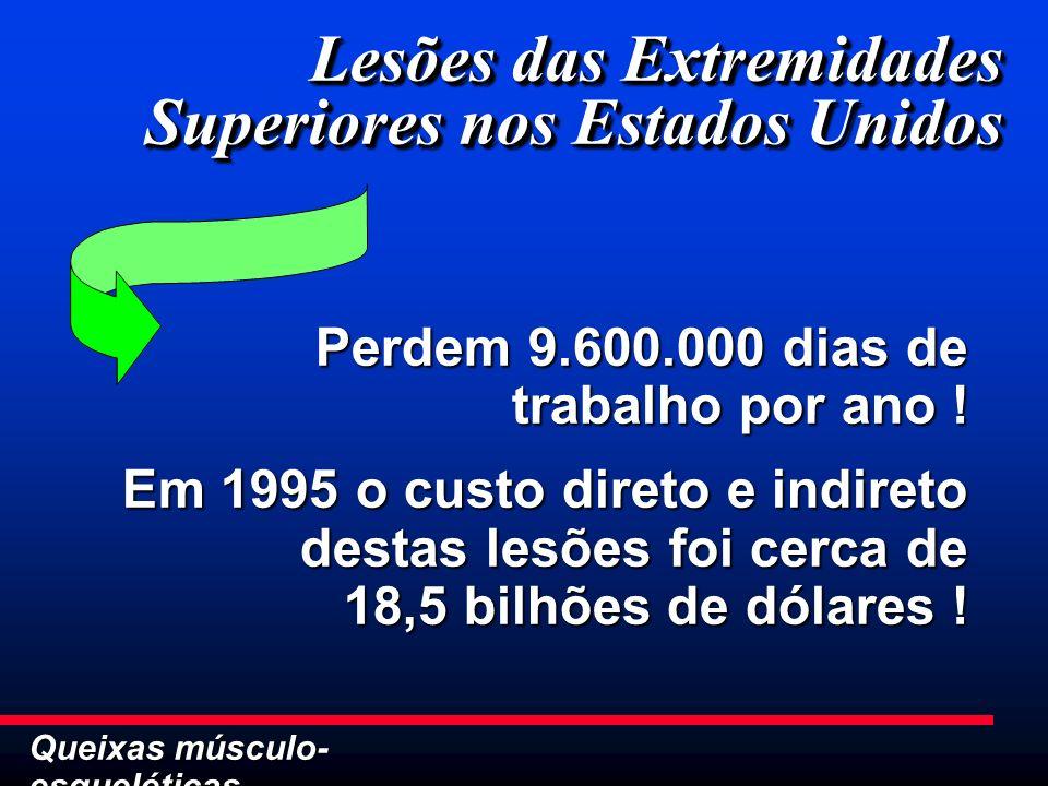 Lesões das Extremidades Superiores nos Estados Unidos Perdem 9.600.000 dias de trabalho por ano ! Em 1995 o custo direto e indireto destas lesões foi