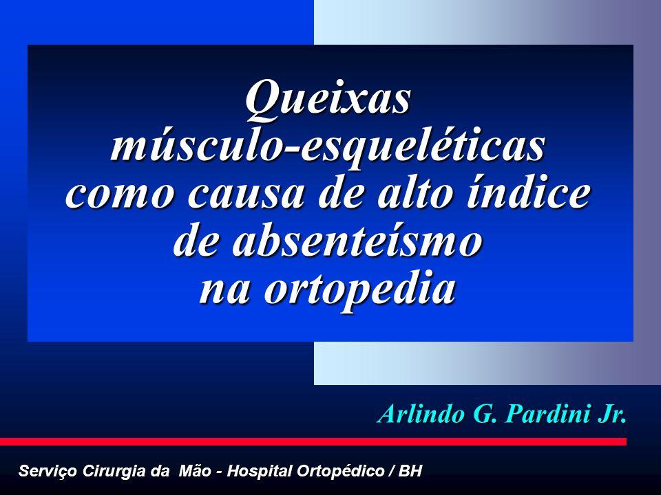 Serviço Cirurgia da Mão - Hospital Ortopédico / BH Arlindo G. Pardini Jr. Queixas músculo-esqueléticas como causa de alto índice de absenteísmo na ort