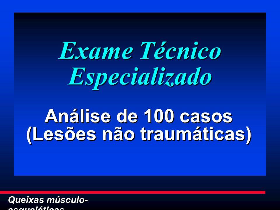 Queixas músculo- esqueléticas Exame Técnico Especializado Análise de 100 casos (Lesões não traumáticas) Análise de 100 casos (Lesões não traumáticas)