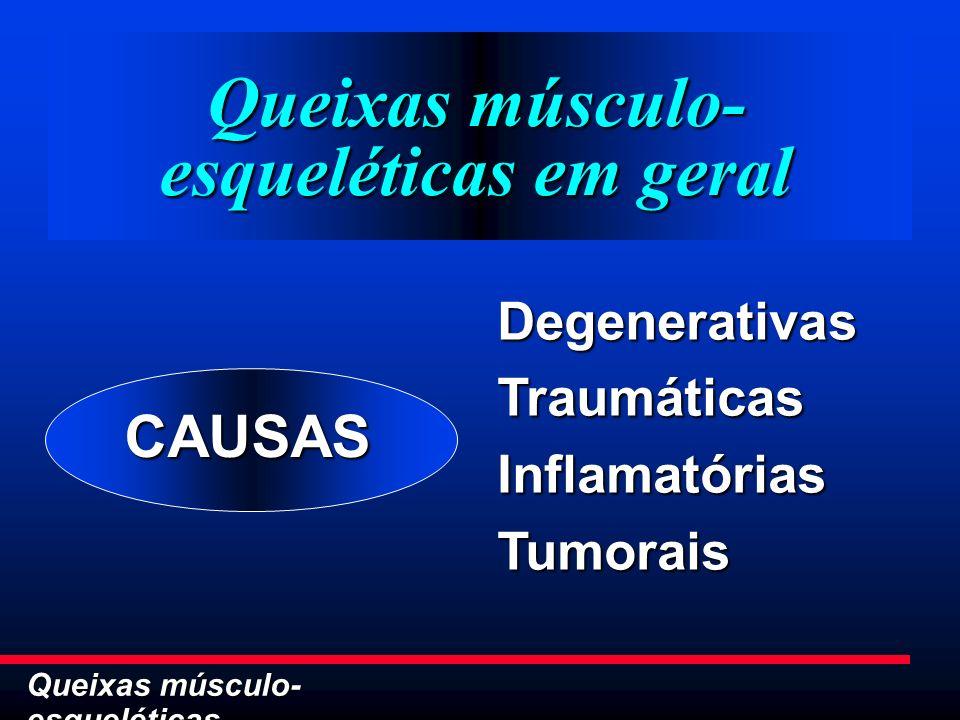 Queixas músculo- esqueléticas Queixas músculo- esqueléticas em geral DegenerativasTraumáticasInflamatóriasTumorais CAUSAS