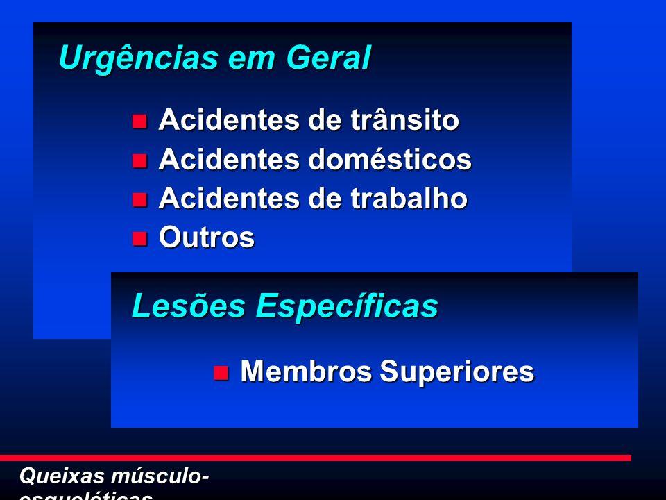 Queixas músculo- esqueléticas Urgências em Geral Acidentes de trânsito Acidentes de trânsito Acidentes domésticos Acidentes domésticos Acidentes de tr