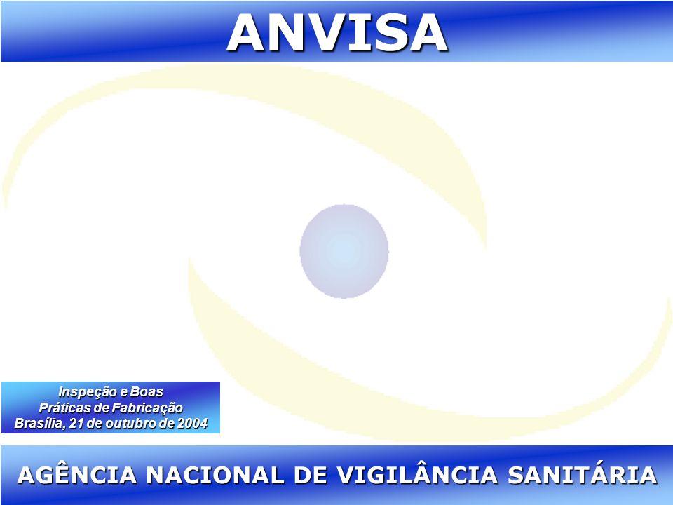 Agência Nacional de Vigilância Sanitária www.anvisa.gov.br ANVISA AGÊNCIA NACIONAL DE VIGILÂNCIA SANITÁRIA Inspeção e Boas Práticas de Fabricação Bras